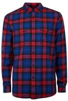 Topman Navy and Red Check Long Sleeve Shirt
