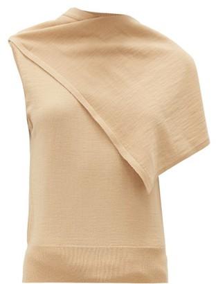Lemaire Draped-panel Merino Wool-blend Jersey Top - Beige