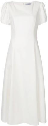 Luisa Beccaria Puffed Sleeve Midi Dress