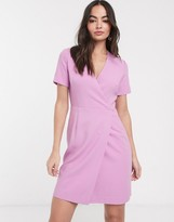 French Connection whisper ruth sleeve wrap dress in pink