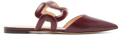 Rupert Sanderson Mannequin Chain-embellished Leather Mules - Womens - Burgundy