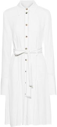 KHAITE Selena Belted Satin-crepe Shirt Dress