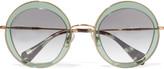 Miu Miu Round-frame acetate and metal sunglasses