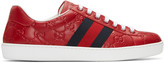 Gucci Red Embossed Logo Sneakers
