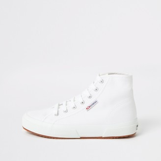 Superga River Island Womens White high top lace-up trainers