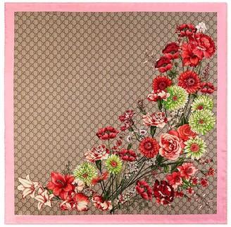 Gucci GG Floral Bouquet Print Scarf