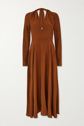 Victoria Beckham Cutout Gathered Silk Midi Dress - Brown