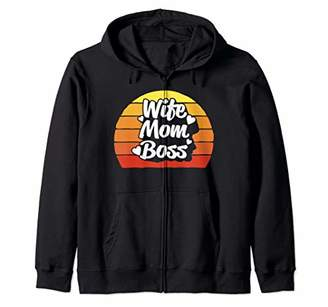 Wife Mom Boss Women Funny Graphic Design Birthday Gifts Cute Zip Hoodie