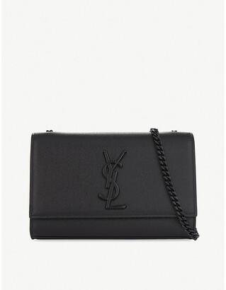 Saint Laurent Ladies Black Elegant Monogram Kate Pebbled Leather Cross-Body Bag