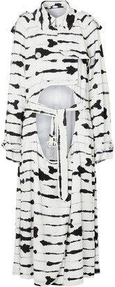 Burberry Watercolour Print Cut-Out Trench Coat
