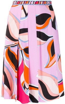 Emilio Pucci Multicoloured Print Pleated Midi Skirt