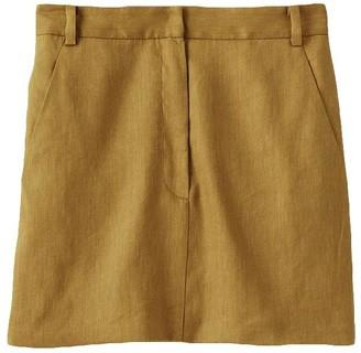 Tibi Wesson Linen High Waisted Mini Skirt in Tan Ochre