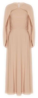 Valentino Silk Cape-Trim Dress