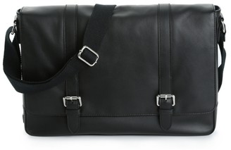 Cole Haan Double Buckle Leather Laptop Messenger Bag