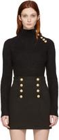 Balmain Black Buttoned Mohair Turtleneck