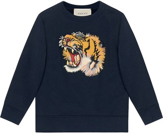 Gucci Kids Tiger's head embroidered top