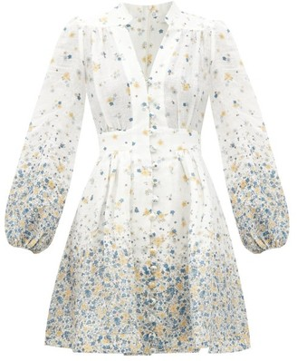 Zimmermann Carnaby Floral-print V-neck Linen Mini Dress - Blue Print