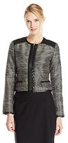 Adrianna Papell Women's Tweed Jacket with Leather