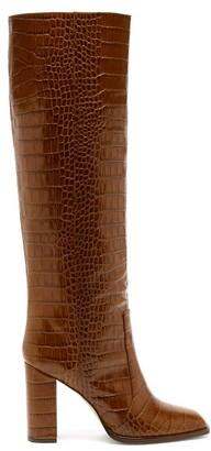 Paris Texas Square-toe Crocodile-effect Leather Knee Boots - Tan
