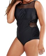 Eternatastic Women's Mesh Grid One-piece Swimsuit Monokini Plus Size Swimwear Black XXL