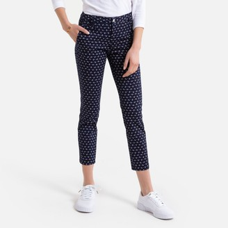 Benetton Printed Cotton Mix Trousers in Slim Fit