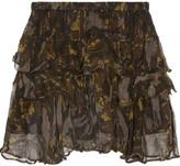 IRO Dicie Tiered Ruffled Camouflage-print Crepon Mini Skirt - Black