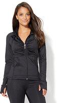 NY&C Velocity - Shirred Zip-Front Hooded Jacket - Polka-Dot Print