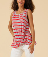Suzanne Betro Weekend Women's Tank Tops 101CORAL/GREY - Coral & Gray Stripe Twist-Hem Tank - Women & Plus