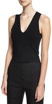 Diane von Furstenberg Sleeveless Paneled Knit Blouse, Black