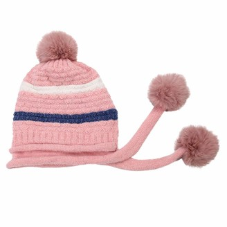 Yivise Women Warm Winter Casual Knitted Hat Wool Hemming Hat Pompom Skull Beanie Ski Hat(Pink)