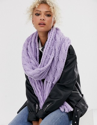 Asos Design DESIGN cable knit scarf with tassels in purple