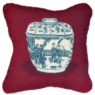 Petit Point Hkh International Ming Dynasty Jar Pillow, Burgundy