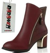 DADAWEN Women's Fashion Casual Pointed-toe Mid Heels Ankle Boots with Slight Cotton - 5 US