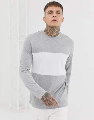 Asos Design DESIGN long sleeve t-shirt with waffle body panel in grey marl