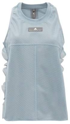 adidas by Stella McCartney Ruffle-trimmed Training Mesh Tank Top - Womens - Light Blue