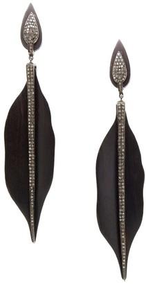 Nina Gilin 14K Yellow Gold, Diamond & Petrified Wood Drop Earrings