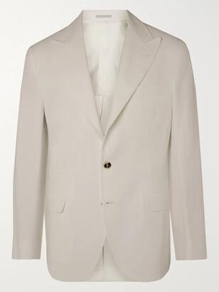Brunello Cucinelli Sage-green Slim-fit Unstructured Linen-hopsack Blazer - White