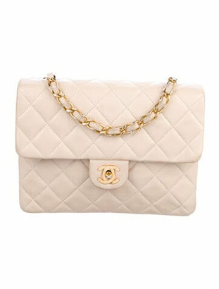Chanel Vintage Classic Mini Square Flap Bag Beige