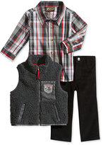 Nannette Baby Boys' 3-Pc. Faux-Fur Vest, Plaid Shirt & Pants Set