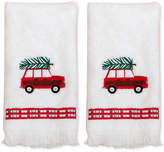 Dena White Spruce Cotton 2-Pc. Embroidered Fingertip Towel Gift Set Bedding