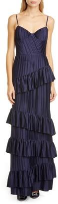Flor Et. Al McCartney Pleat Tier Crepe Gown