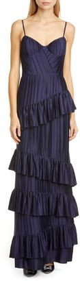 Flor Et. Al McCartney Pleat Tier Crepe Gown