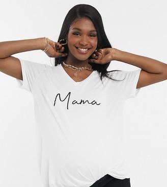 Asos Maternity   Nursing ASOS DESIGN Materinity nursing v-neck long sleeve t-shirt with mama motif