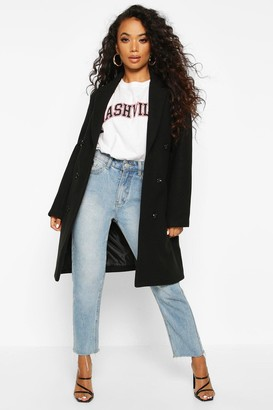 boohoo Petite Double Breasted Wool Look Coat
