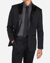 Express Classic Black Cotton Sateen Tuxedo Jacket