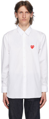 Comme des Garcons White and Red Heart Patch Shirt