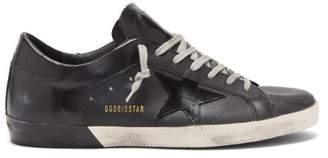 Golden Goose Superstar Distressed Leather Trainers - Mens - Black
