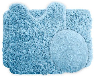 Lavish Home 3 Piece Super Plush Non-Slip Bath Mat Rug Set, Blue