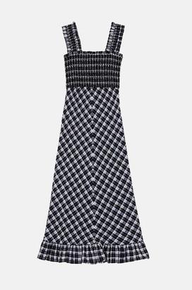 Ganni Seersucker Maxi Dress In Black - 34