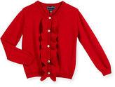 Oscar de la Renta Ruffle-Trim Wool-Blend Cardigan, Size 2-14